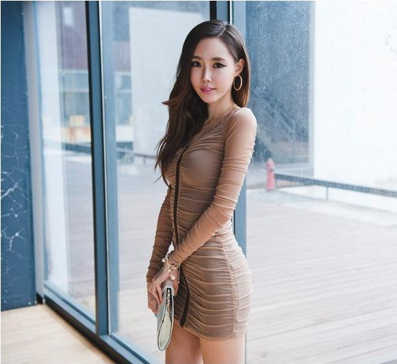 Korean Style Fashion Sexy Skinny V Neck Dress Over Hip Wcloset Ladys Evening Dinner Party Online With   Piece On Crystalcrowns Store