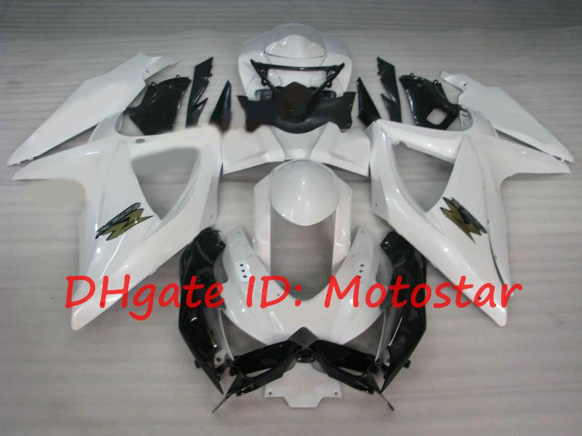 Vit Fairings Kit för Suzuki GSXR 600 750 2008 2009 2010 K8 GSXR600 GSXR750 08-10 GSX-R750 GSX-R600