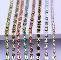 Wholesale Chaton Strass - gold base crystal cup chain, rhinestone cup chain, strass chain, MC chaton cup chain, garment shoes phone art trimming, crystal size in 3mm