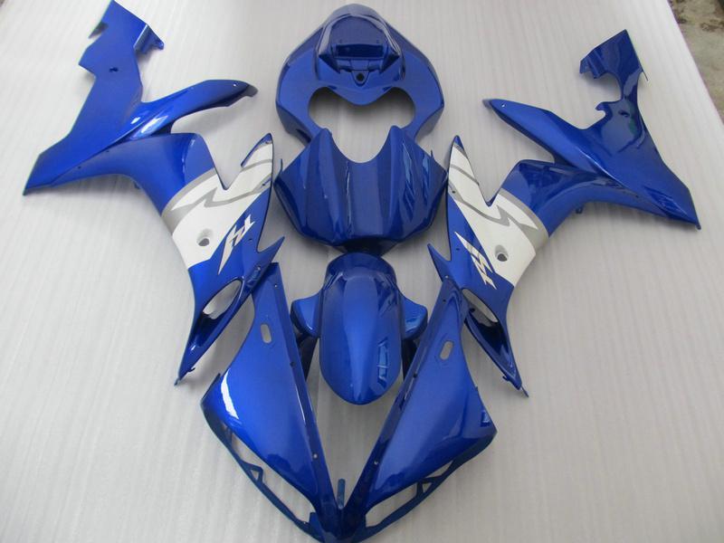Professionell Blue White Body Fairing Kit för YZF R1 2004 2005 2006 YZFR1 04 05 06 YZF-R1 04-06 YZF1000