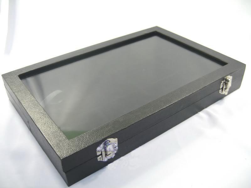 Black Glass Top Ring Display Case Box Lade Showcase