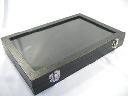 Glass Top Lid Black Velvet 12 Compartments Jewellery Display Case Box