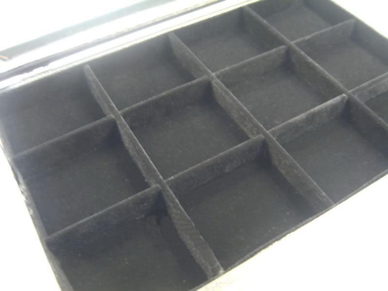ガラストップふたブラックベルベット12コンパートメントジュエリーディスプレイケースボックス