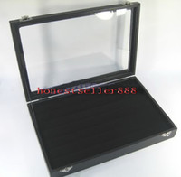 Wholesale Leather Display Ring Tray - BLACK GLASS TOP RING DISPLAY CASE BOX TRAY SHOWCASE