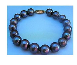"Wholesale Tahitian Mm Black Pearl - Charming AAA +8-9 mm Tahitian black pearl bracelet 7.5-8 ""14K"