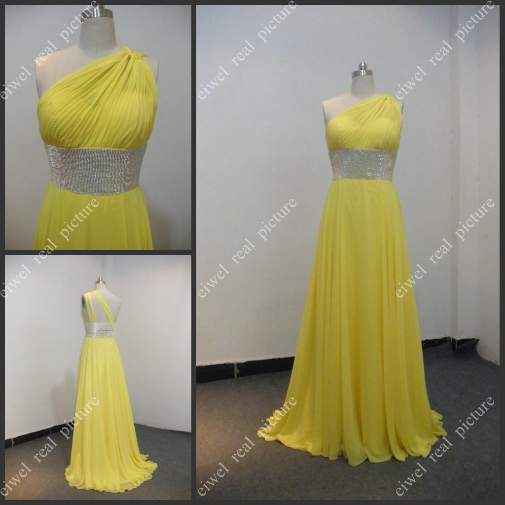 One Shoulder Bridesmaid Dresses A Line Ruched Yellow Chiffon Wedding