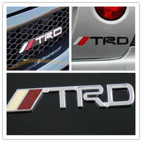 Wholesale Trd Emblems Stickers - 5 X Metal Chrome Steel TRD Car Hood Truck Chorme TRD Badge Emblem Sticker for TOYOTA Free Shipping