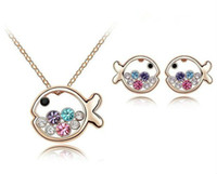 Wholesale earings necklace sets - Fashion Lovely Fish Crystal Jewelry Sets Crystal Necklace Earings JS024 Free shipping