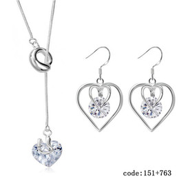 Wholesale Dolphin Necklace Mix - FASHOIN JEWELRY SET Dolphin 925 sterling silver earring necklace crystal pendants SILVER JEWELLERY S