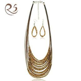kostüm schmucksets für hochzeiten Rabatt S016 handgemachte Perlen Halskette / Ohrring-Sets