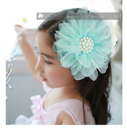 Wholesale Wholesale Flower Brooch Hair Clip - Pearl Tulle Flower Hair clips Bridal Party Girl Head flowers Corsage brooch Kids hair accessories