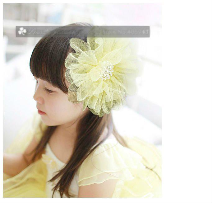İnci Tül Çiçek Saç klipler Gelin Parti Kız Baş çiçekler / Korsaj / broş / Çocuk saç aksesuarları
