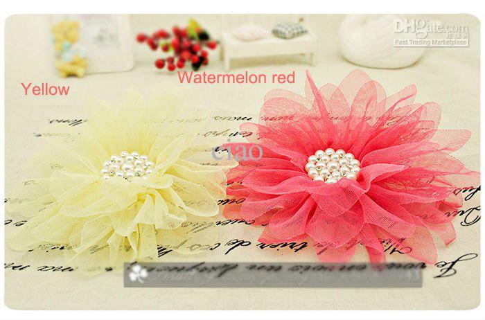 Pearl Tulle Flower Hair Clips Bridal Party Girl Head Flowers / Corsage / Brosch / Barn Hårtillbehör