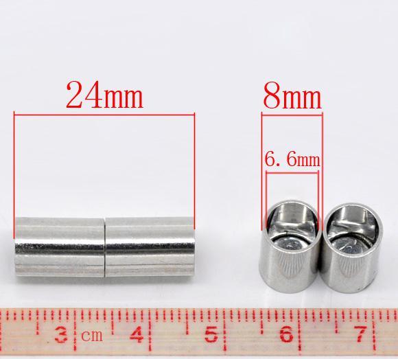 30pcs Sets Silber Ton Barrel Magnetverschlüsse 24x8m