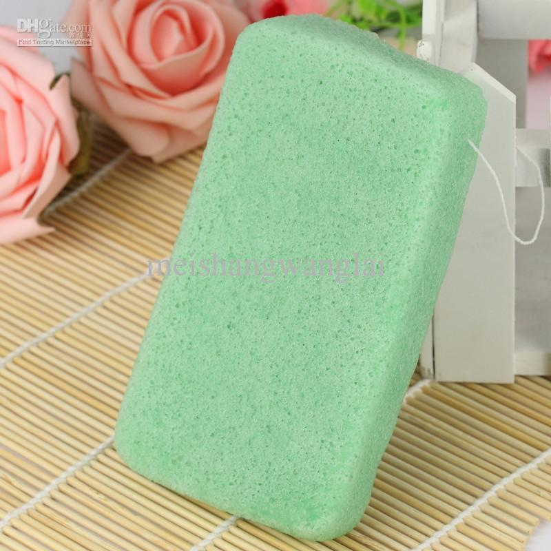 100 pçs / lote 4 cores Retângulo 100% Natural Chá Verde Konjac Esponja Facial Lavagem Facial Puff De Limpeza