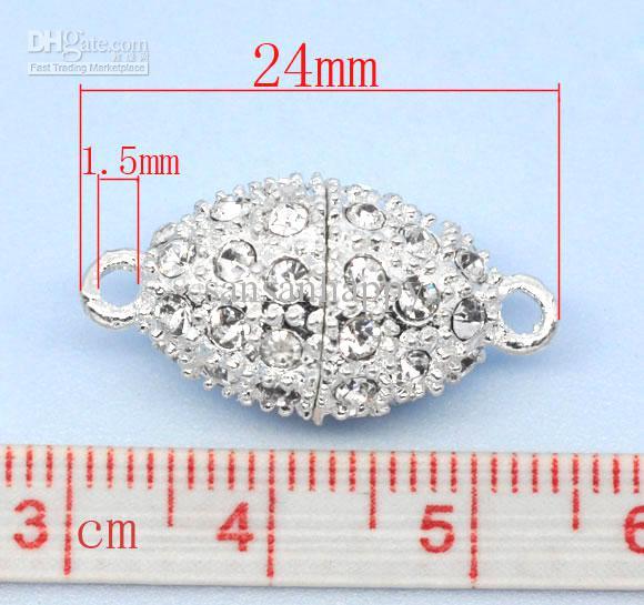 Magnetverschlüsse, oval, Legierung, versilbert, mit klarem Strass, 24x12mm