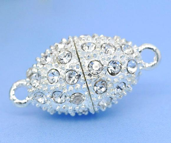 Magnetic clasps, oval, alloy, silver plated, with clear rhinestone, 24x12mm