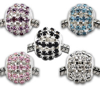 pasteles ovales de boda al por mayor-100pcs Mixed Hollow Rhinestone Beads Fit Charm Bracelet