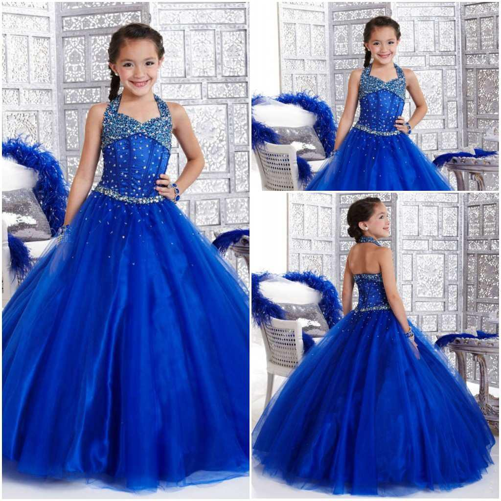 Royal Blue Flower Girl Wedding Party Dresses Halter Ball Gown Full ...
