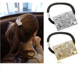 24pcs Women's Accessories Rhinestone Crystal Geometry Oblong Hair Band Ponytal Holder