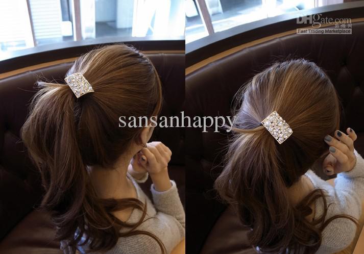 Damtillbehör Rhinestone Crystal Geometry Oblong Hair Band PonyTal Holder