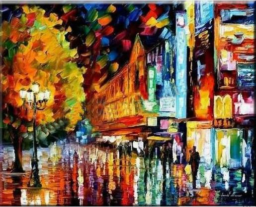 Knife Oil Painting Abstract Modern City Night Scenery Home