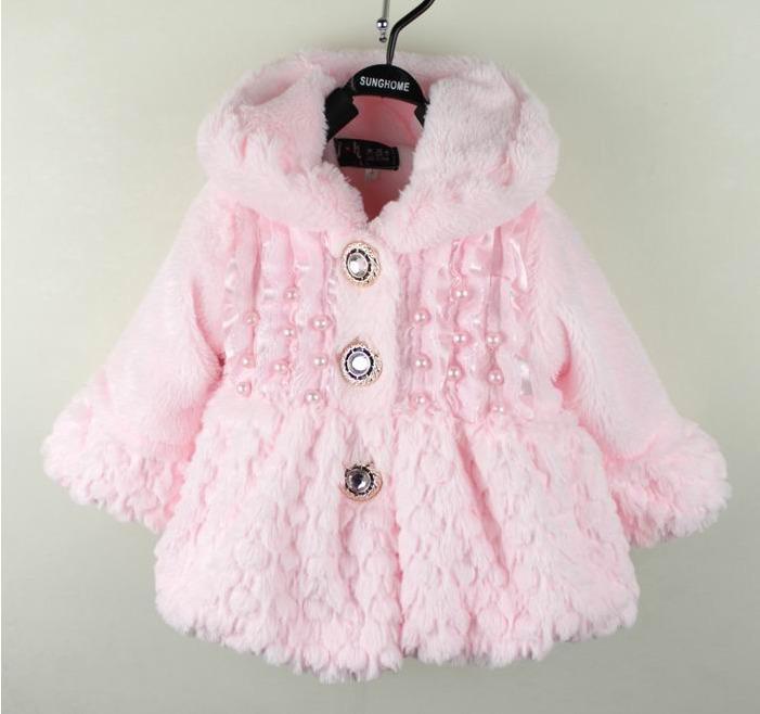 Baby Girls Winter Fur Coat Overcoats Kids Princess Warm Fleece ...