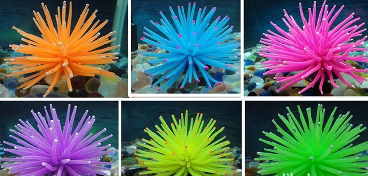 Frete grátis Aquarium Fish Tank Decor Artificial Coral macio Planta seis cores 6 pçs / lote