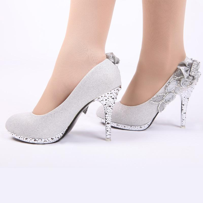 Short Heel White Wedding Shoes With Sparkle