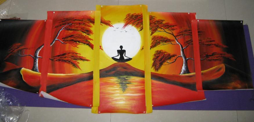 Lona de pintura a óleo pintura de Paisagem Africano Meditação handmade escritório hotel casa arte da parede decoração
