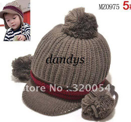 Wholesale Double Ball Wool Cap - 5pcs lot,Ear double ball knitted children's hats, 1-3 years old parquet strip visors children caps,
