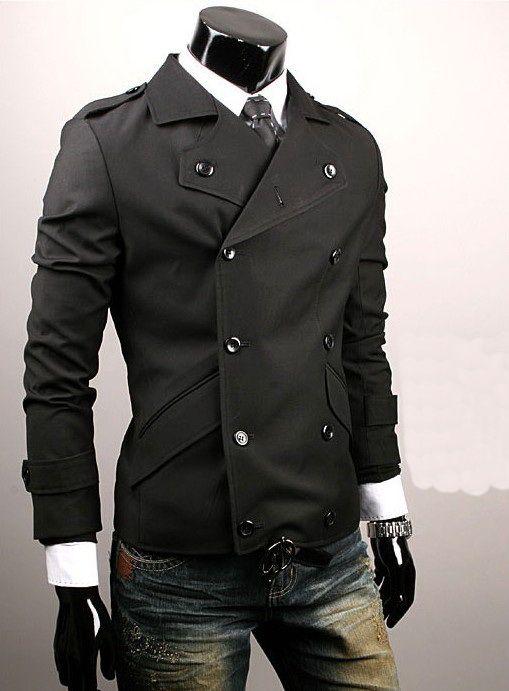 Black Sniper Jacket Men's Double Button Badges Jackets Coats M/L ...