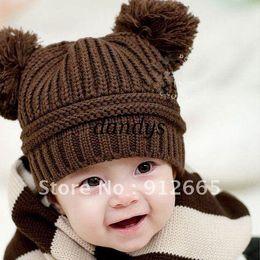 Wholesale Earflap Hat Balls - 10pcs lot Two balls baby winter woolen cap children earflap warm hats (not include scarf) free shipp