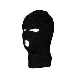 Wholesale Plain Cycling Cap Wholesale - Wholesale NEW 3 HOLE KNIT SKI MASK BEANIE HAT CAP BLACK FOR FOR FISHING