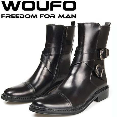 Classic Fashion Double Side Zipper Mens Winter Boots Leather Short ...