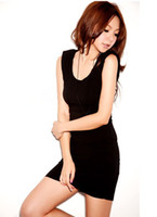 Wholesale Summer Women Jumpers - 2015 new Fashionable Black Women 's Dress Jumper Skirt Sexy Slim Dress Free Shipping