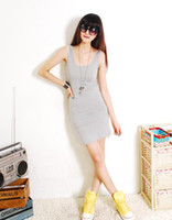 Wholesale Sexy Woman Jumpers - 2013 Fashion Black Women 's vest Dress Jumper Skirt Sexy Slim Dress,6 color,free size