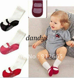 Wholesale Girls Home Sock - 20pairs lot baby non-slip socks infant home socks red,pink,black 0-2T Free Shipping