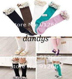 Wholesale Girls Lace Pantyhose - 20pairs lot girl lace stocking tights children pantyhose kid's knee high socks 3-8 years Free Shipping