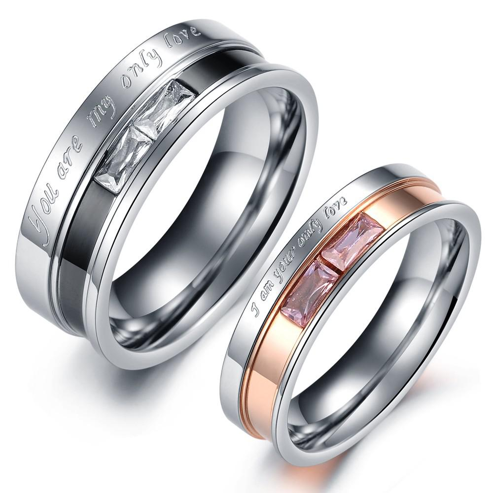 New Arrival Stainess Steel Couple Rings Balck&Rose Gold Colored ...