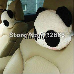Wholesale Cartoon Headrest - 1 pair cute cartoon panda travel head pillow car headrest auto neck pillow waist cushion free shippi