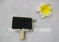 Wholesale Mini Wooden Easels Wholesale - EMS 200pcs lot rectangle mini wooden blackboard with clip children message memo board drawing easel