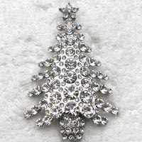 hermosos broches al por mayor-Comercio al por mayor Hermoso Broche de Cristal Rhinestone árbol de Navidad Pin Broches regalos de Navidad joyería