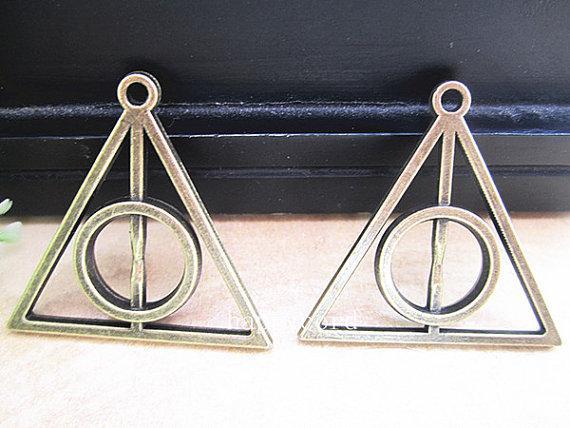 Blandad färg Antik brons och antikvitet Silver Deathly Hallows Pendant Charm 31mmx32mm 40pieces / Lot