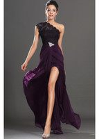 Wholesale Custom Crystal Pins - Dark Purple 2016 High Thigh Split Evening Dresses One Shoulder Black Lace Crystals Pin Red Carpet Gowns