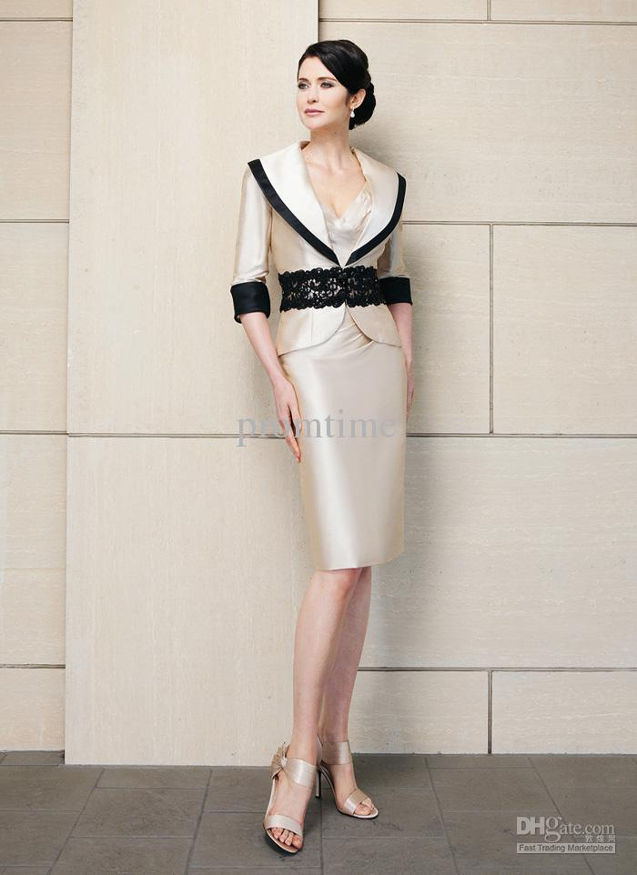 Elegant Mother Dress Knee Length Sailor Collar Elbow Sleeve Mother ...