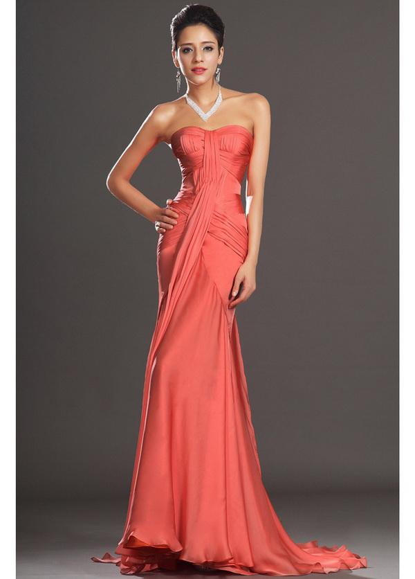 Coral Mermaid Chiffon Evening Dresses 2014 New Asymmetrical Pleating