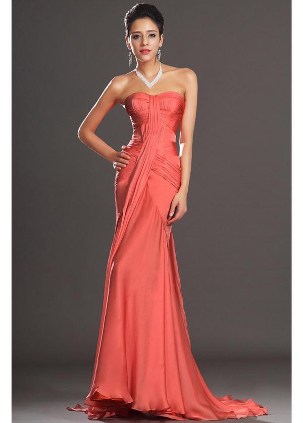 Coral Mermaid Chiffon Evening Dresses 2014 New Asymmetrical Pleating ...