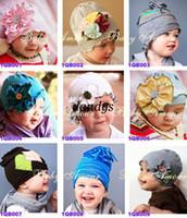 Wholesale Babys Beanies - freeshipping  babys flower Headbands hat  Childrens Hair Accessories   Flower spring baby hats beanie