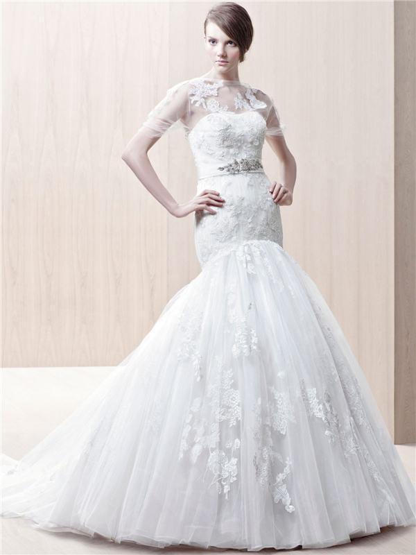 Elegant Soft Sweetheart Jeweled Belt Waist Mermaid Lace Overlay ...
